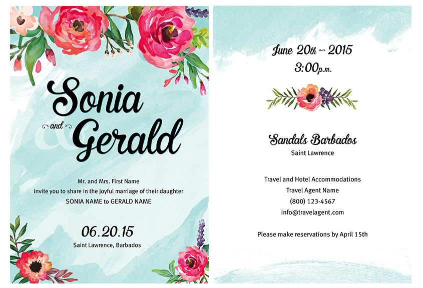 Beach wedding invitation dseign