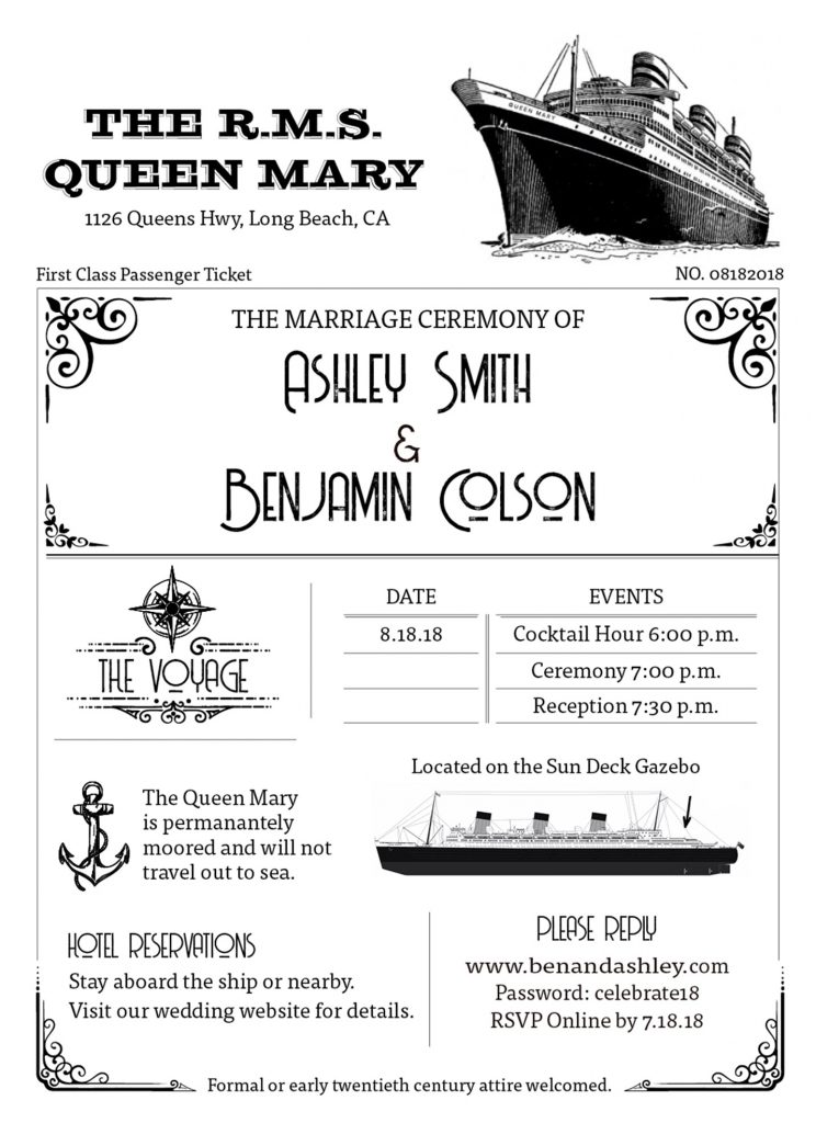 Invitation for wedding on the Queen Mary