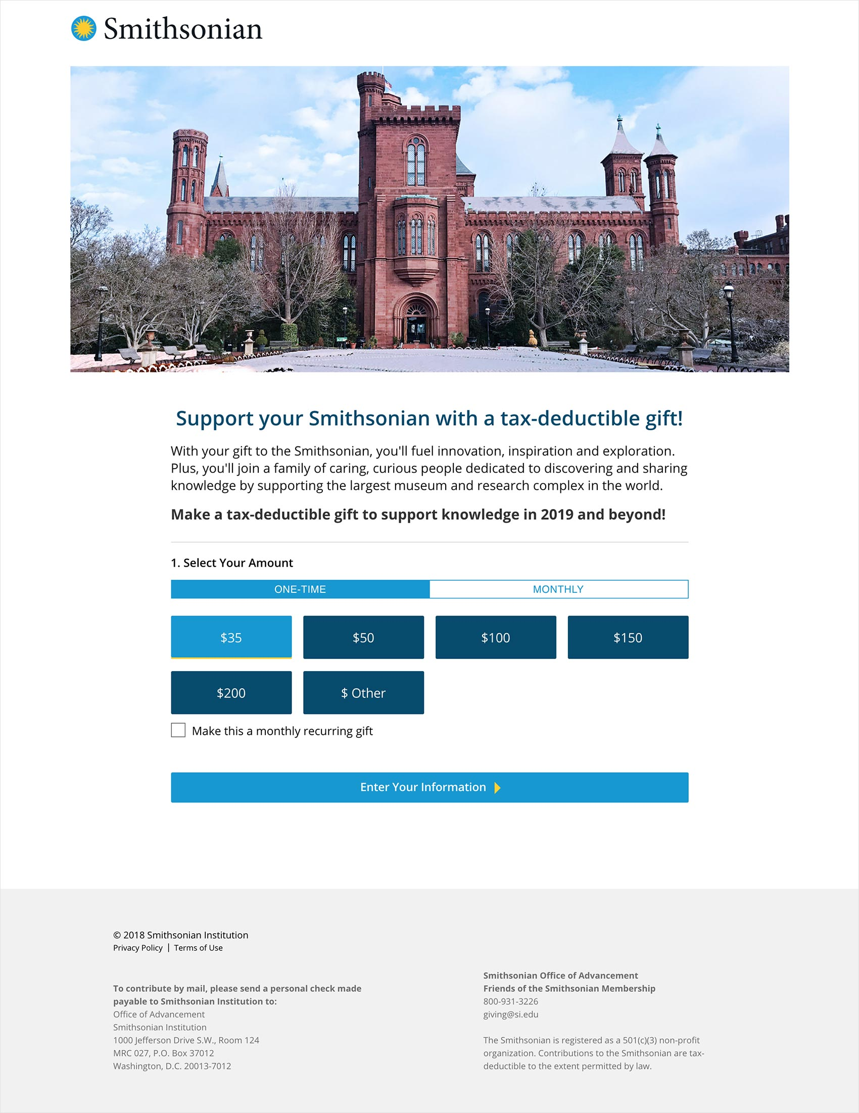 Smithsonian Institute donation form