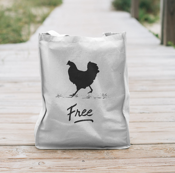 "tote bag of a chicken with the word ""free"""